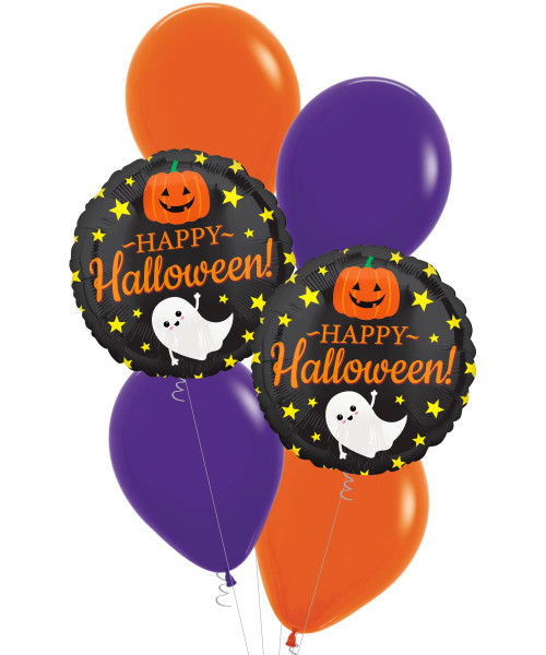 [Halloween] Happy Halloween with Ghost, Pumpkin and Stars Balloons Bouquet