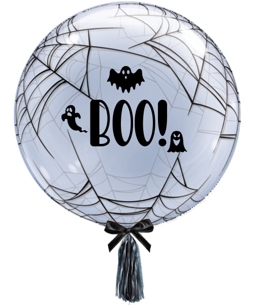 "BOO! 24"" Crystal Clear Transparent Spider's Web Printed Balloon"