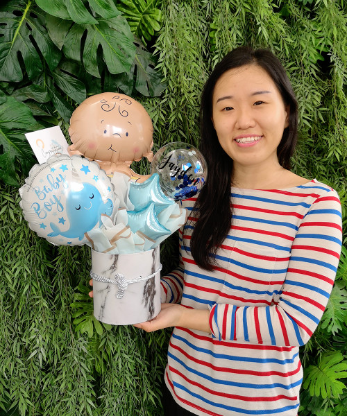 [Baby] Personalised Name Balloons Bouquet Box - Narwhal Baby Boy