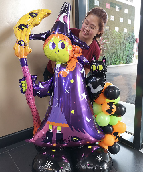 [Halloween] Scary Witch and Black Cat Balloons Centerpiece