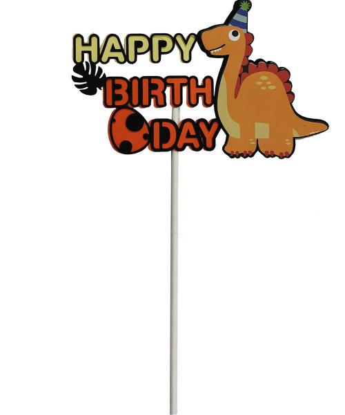 Happy Birthday Dinosaur Cake Topper - Orange Brachiosaurus