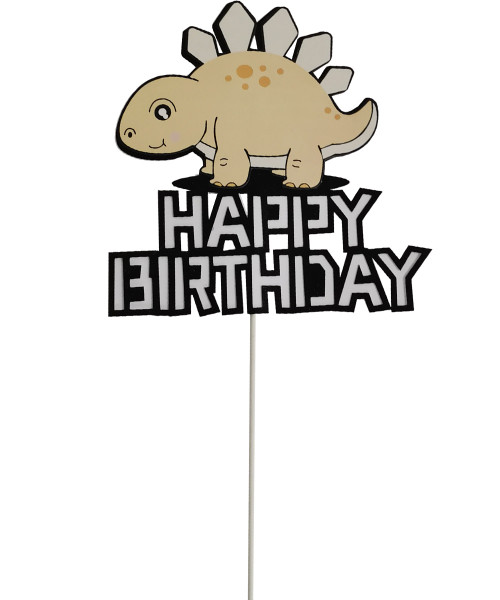 Happy Birthday Dinosaur Cake Topper - Light Cream Stegosaurus