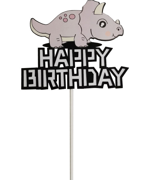 Happy Birthday Dinosaur Cake Topper - Light Purple Triceratop