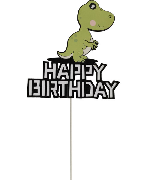 Happy Birthday Dinosaur Cake Topper - Green Compsognathus