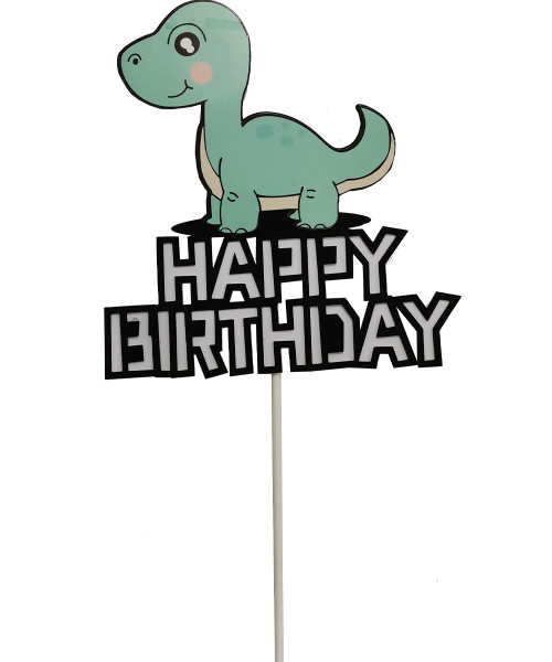 Happy Birthday Dinosaur Cake Topper - Mint Brontosaurus