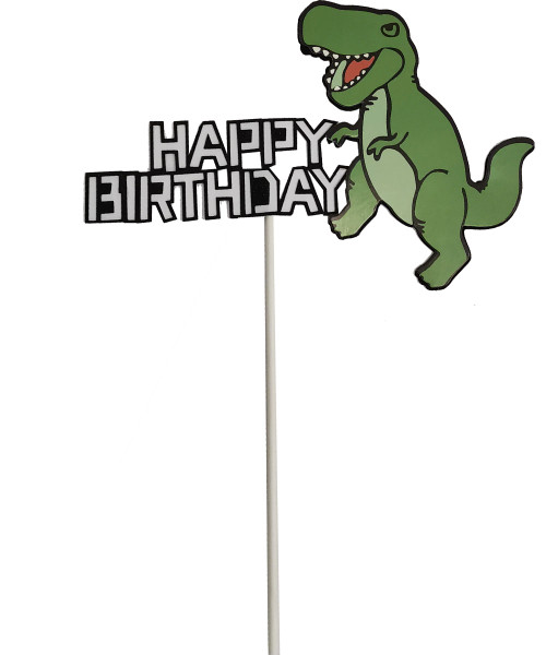 Happy Birthday Dinosaur Cake Topper - Green T-Rex