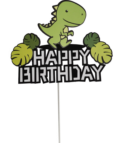 Happy Birthday Dinosaur Cake Topper - Green T-Rex with leaves