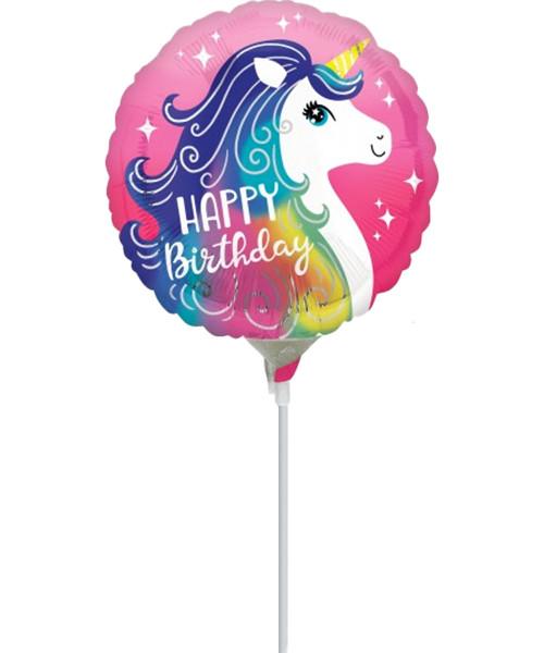 [Unicorn] Colorful Unicorn Happy Birthday with stick (9inch)