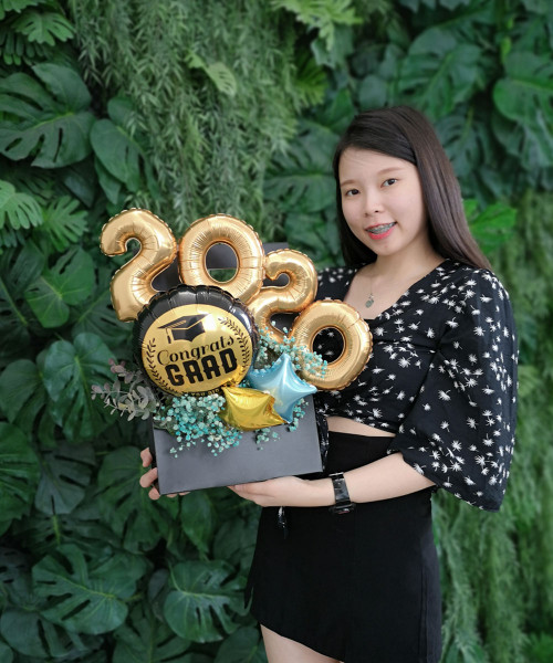 [Graduation] Balloons Bouquet Box (Black) with Handle - Congrats Grad Class of 2020