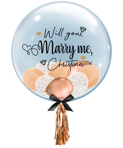 "[Proposal] 24"" Personalised Name Will You Marry Me? Crystal Clear Balloon - Will You Marry Me?"