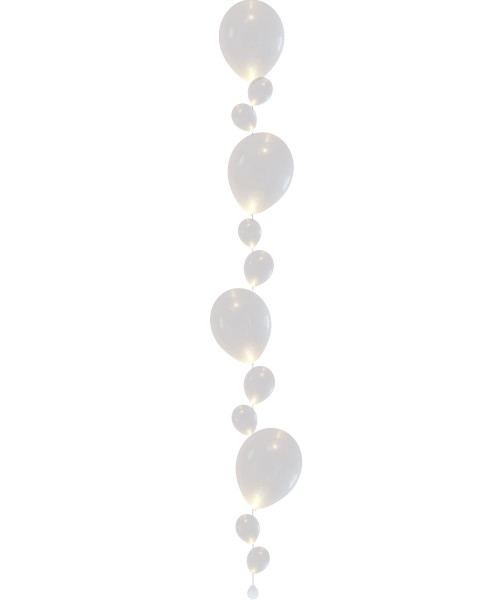 White Latex Balloons Strand (approx 1.8 meter tall) - With Luminous LED