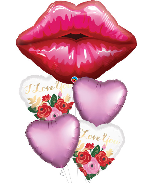 Big Red Kissy Lips I Love You Balloons Bouquet