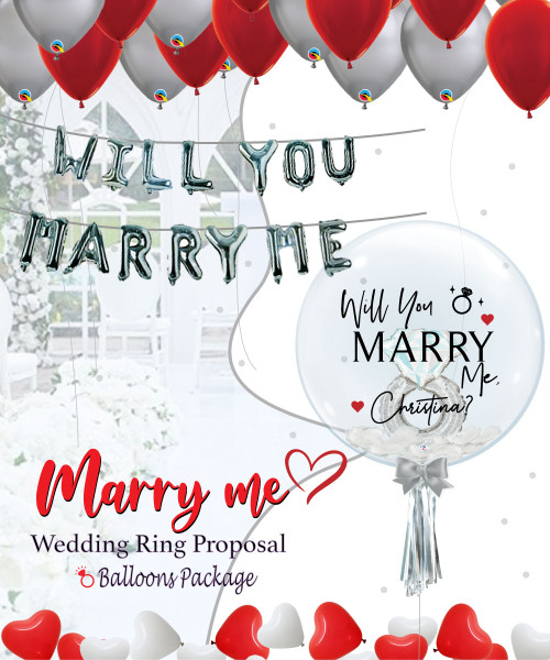 [Proposal] Will You Marry Me Platinum Wedding Ring Balloon Package