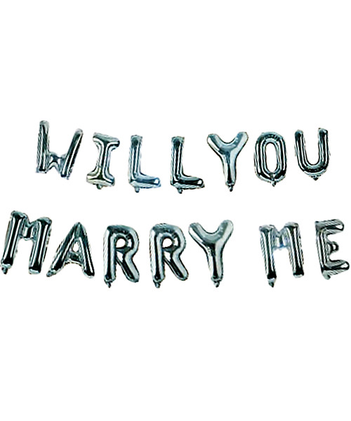 "[Will You Marry Me Pack] 16"" Will You Marry Me Alphabet Foil Balloons Banner - Silver"