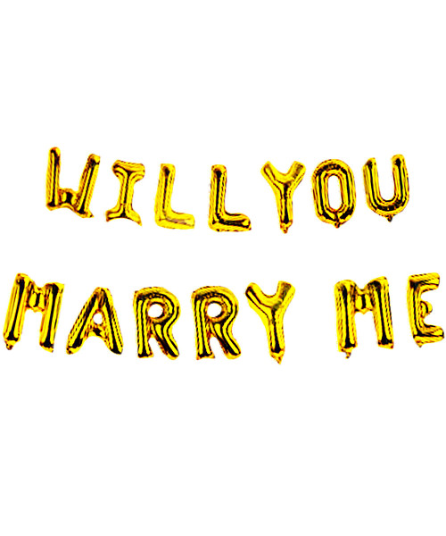 "[Will You Marry Me Pack] 16"" Will You Marry Me Alphabet Foil Balloons Banner - Gold"