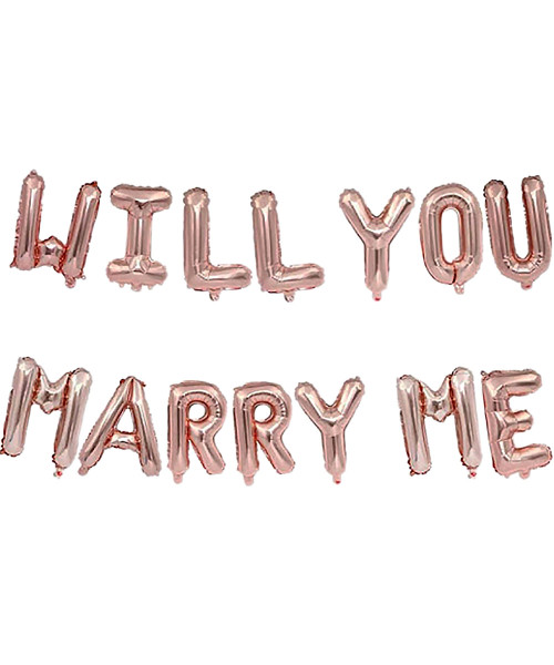 "[Will You Marry Me Pack] 16"" Will You Marry Me Alphabet Foil Balloons Banner - Rose Gold"