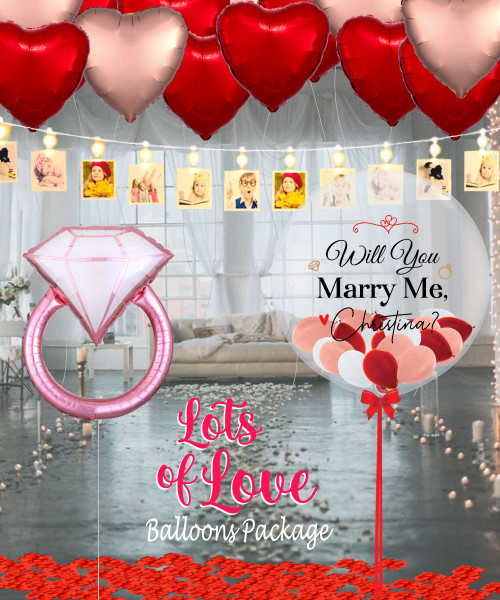[Proposal] Will You Marry Me Lots of Love Blush Diamond Ring Balloons Package