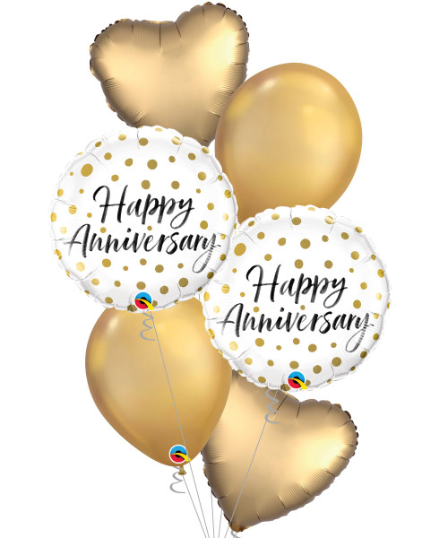 [Love] Happy Anniversary Satin Luxe Gold Sateen Heart Balloons Bouquet
