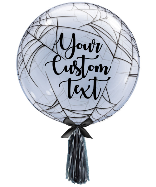 "24"" Personalised Crystal Clear Transparent Spider's Web Printed Balloon"