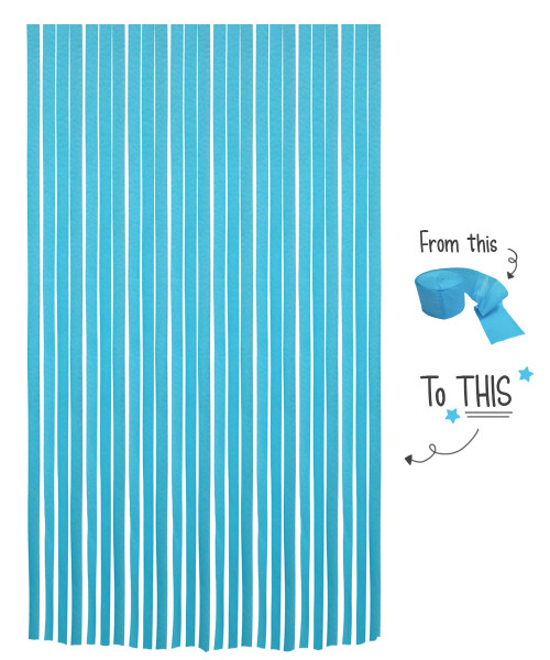 Crepe Paper Roll For Party Streamers/Backdrop (2200cm x 4.5cm) - Icy Blue