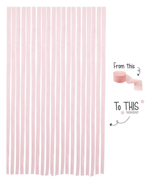 Crepe Paper Roll For Party Streamers/Backdrop (2200cm x 4.5cm) - Fairy Tale Light Pink