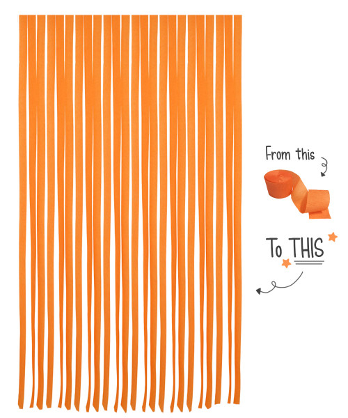 Crepe Paper Roll For Party Streamers/Backdrop (2200cm x 4.5cm) - Tangy Orange