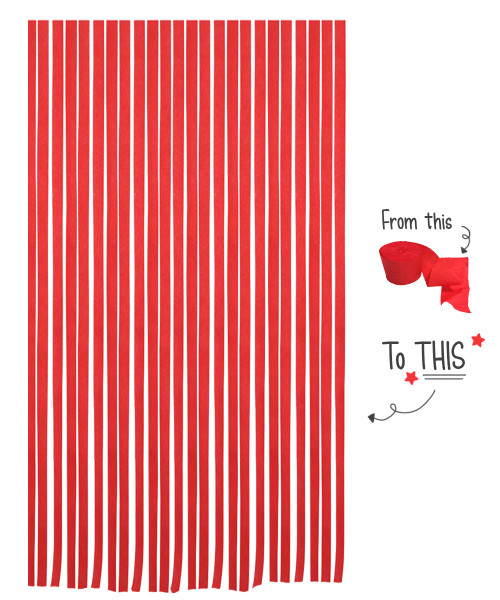 Crepe Paper Roll For Party Streamers/Backdrop (2200cm x 4.5cm) - Scarlet Red