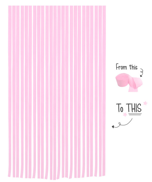 Crepe Paper Roll For Party Streamers/Backdrop (2200cm x 4.5cm) - Cotton Candy Pink