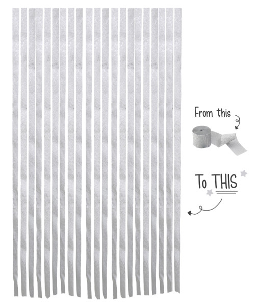 Crepe Paper Roll For Party Streamers/Backdrop (2200cm x 4.5cm) - Sleek Silver