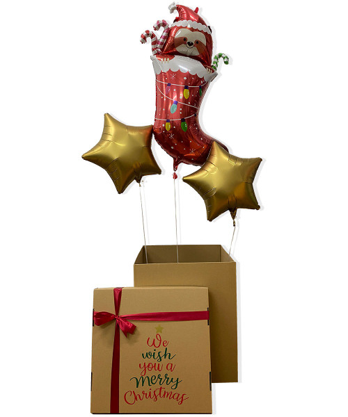 [Merry Christmas Balloons Surprise Box] Wholly Jolly Christmas Party Box (Balloon Headbands, Christmas Bunting & Wall Hanging Banner, LED String Lights)