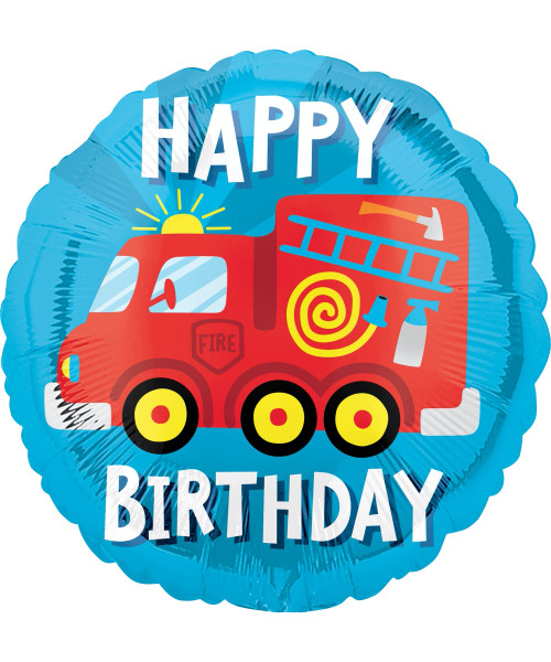 [Transportation] Happy Birthday Fire Engine Truck Foil Balloon (17inch)