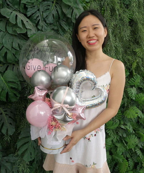 [Congratulatory] Personalised Balloons Bouquet Box Design - Sweet Blossom