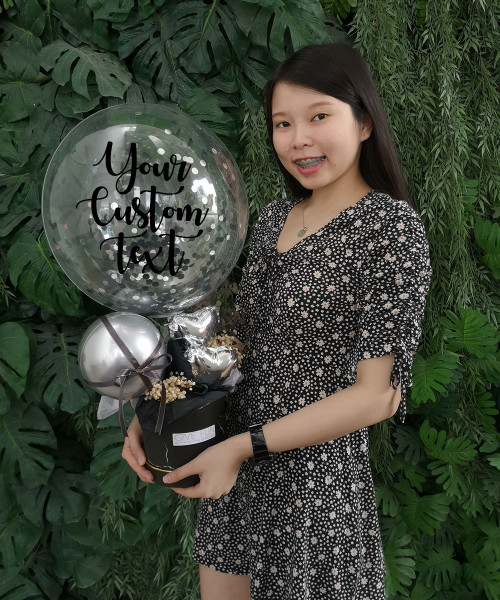 [Birthday] Personalised Balloons Bouquet Box - Volcanic Black