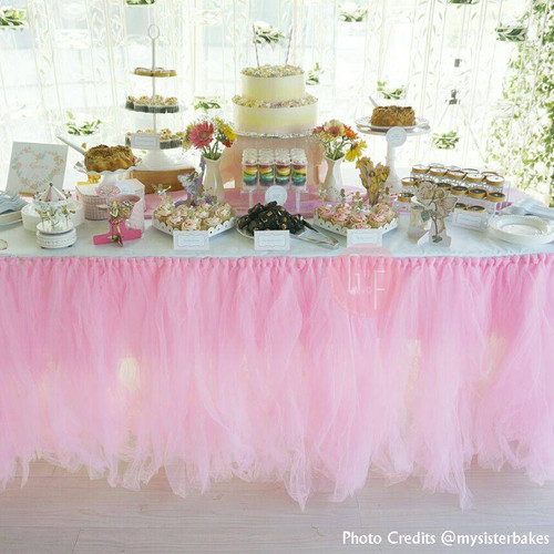 Handmade Tutu Tulle Table Skirt - Baby Pink