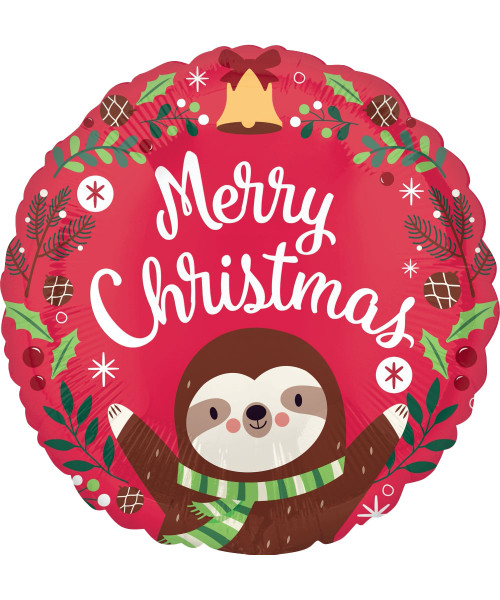 [Merry Christmas] Sloth Christmas Foil Balloon (17inch)