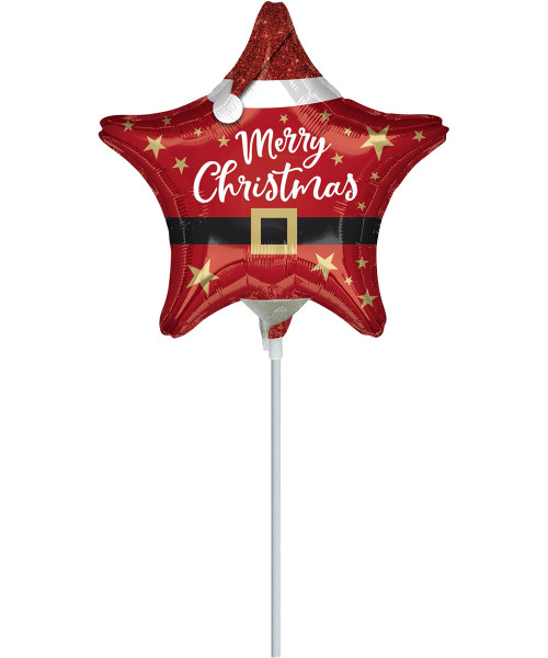 [Merry Christmas] Santa Christmas Star Balloon with Stick (9inch)