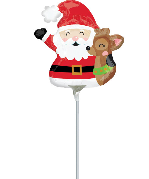 [Merry Christmas] Santa & Reindeer Balloon with Stick (10inch)