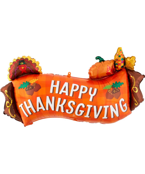 [Thanksgiving] Happy Thanksgiving Harvest Banner Foil Balloon (36inch)