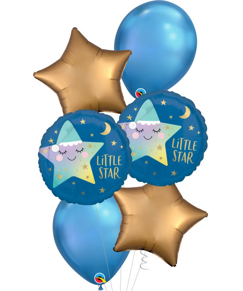 [Baby] Sleepy Little Star Chrome Blue Balloons Bouquet