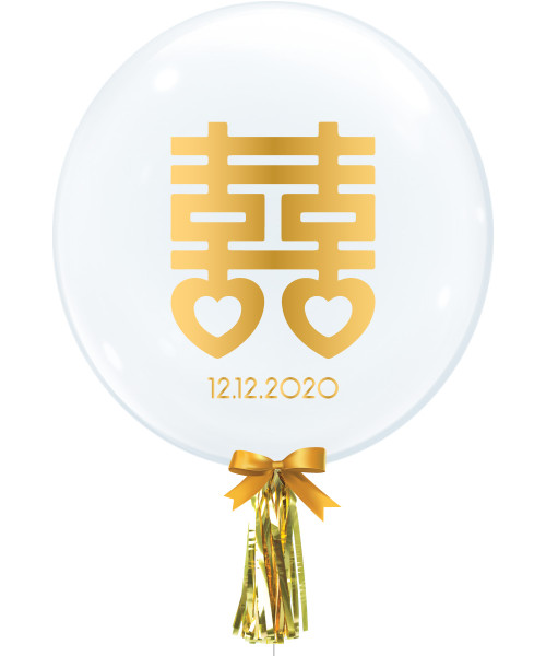 """[Wedding] 24"""" Personalised Date Crystal Clear Transparent Balloon - Chinese Character Double Happiness 囍"""