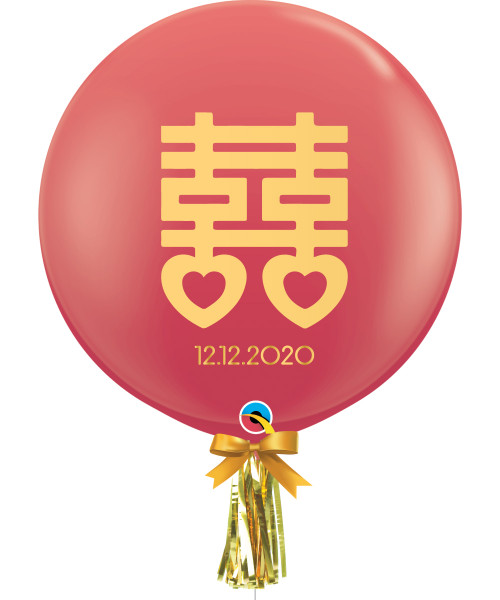 """[Wedding] 36"""" Personalised Date Jumbo Perfectly Round Latex Balloon (Red) - Chinese Character Double Happiness 囍"""