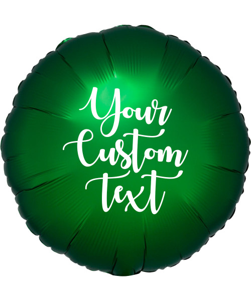 "17"" Personalised Satin Luxe Round Foil Balloon - Emerald Green"