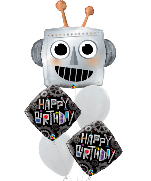 Robot Head Birthday Robot Cogwheels Diamond Balloons Bouquet