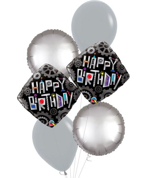 [Robot] Birthday Robot Cogwheels Diamond Foil Balloons Bouquet