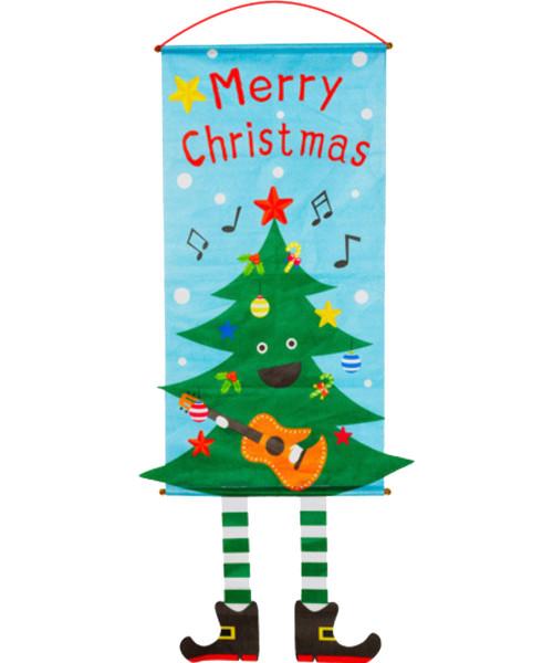 [Merry Christmas] Christmas Wall Hanging Banner (115cm) - Musical Christmas Tree