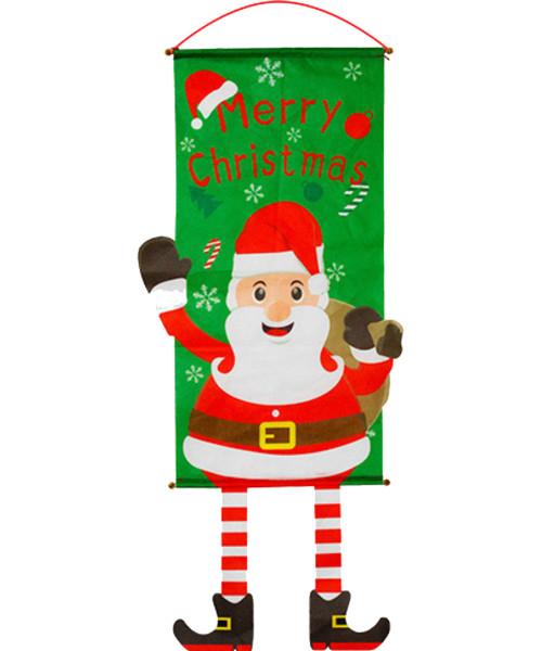[Merry Christmas] Christmas Wall Hanging Banner (115cm) - Waving Santa Claus