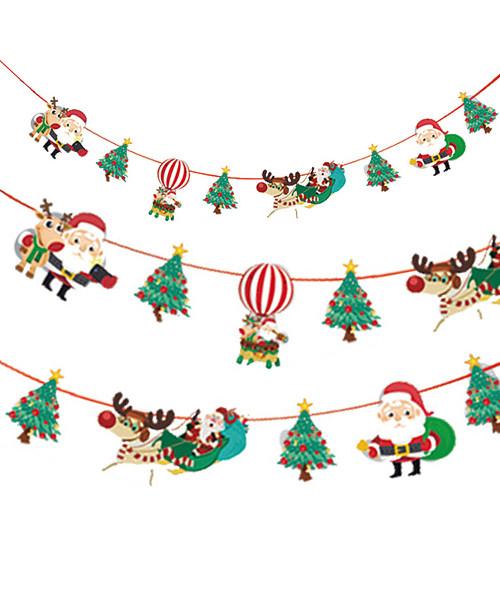 [Merry Christmas] Christmas Paper Bunting (3meter) - Santa Claus & Christmas Tree