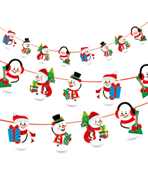 [Merry Christmas] Christmas Paper Bunting (3meter) - Music Snowman