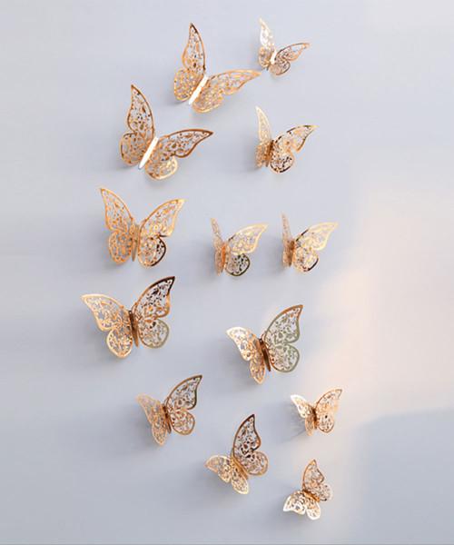 3D Butterfly Wall Decoration (12 pcs) - Metallic Gold