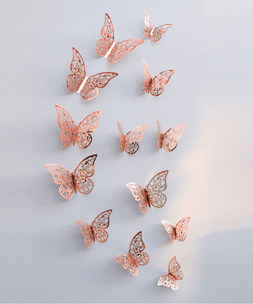 3D Butterfly Wall Decoration (12 pcs) - Metallic Rose Gold